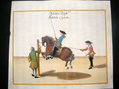 Cavendish Equestrian Dressage 1700 Antique Hand Colored Horse Print 76 | Albion Prints